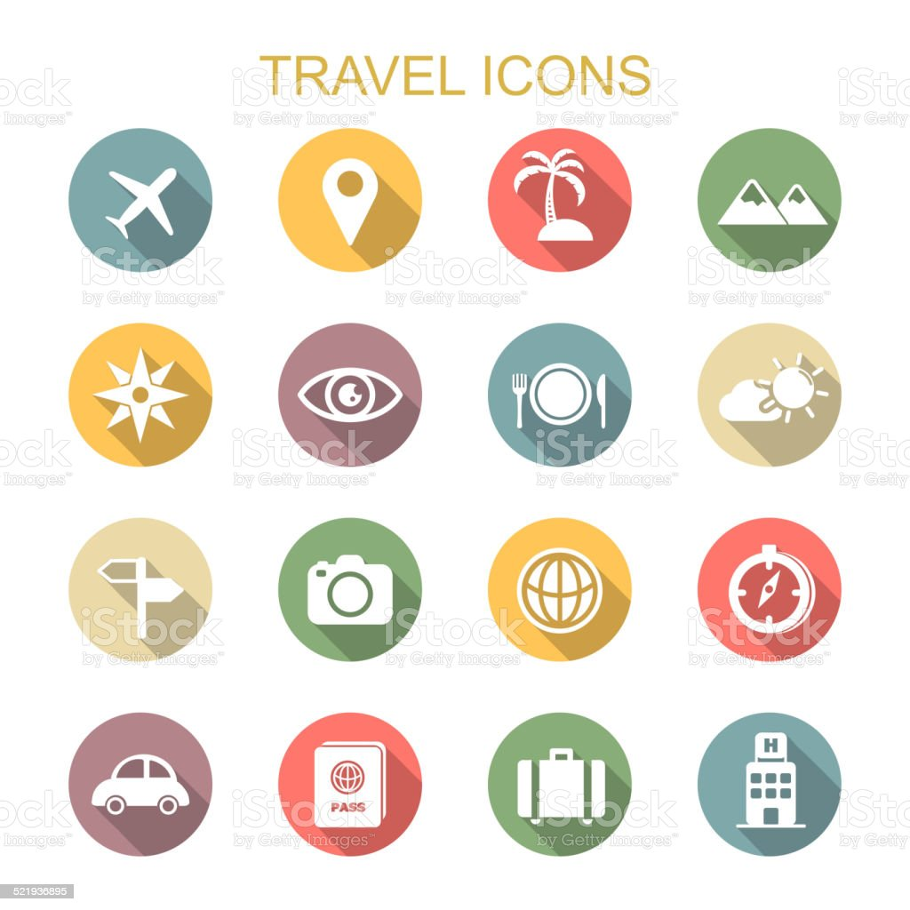 travel long shadow icons vector art illustration