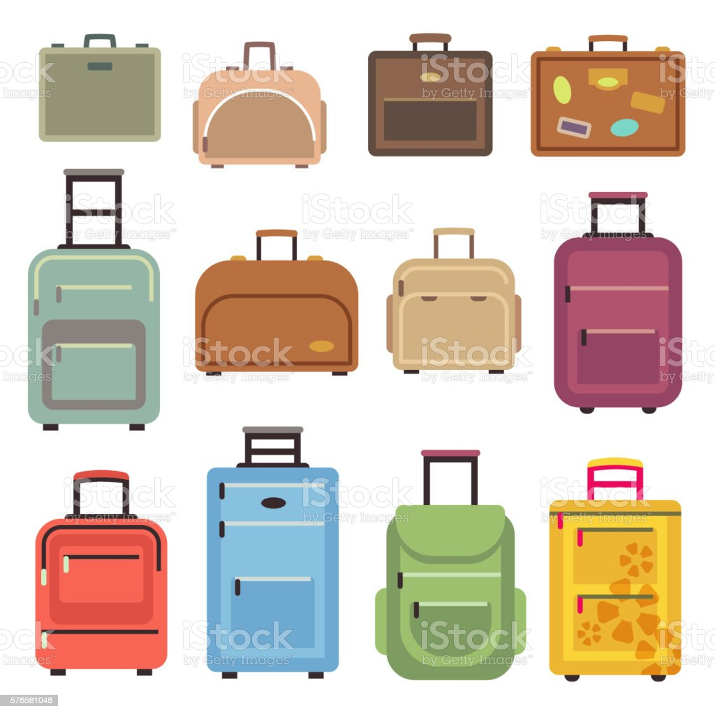 Travel luggage bag, suitcase vector flat icons vector art illustration