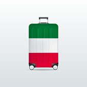Travel luggage bag with Italy flag. Realistic suitcase.