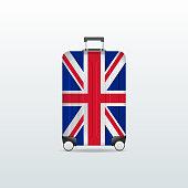 Travel luggage bag with United Kingdom flag. Realistic suitcase.