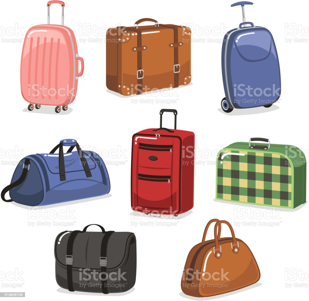 travel Luggage cartoon set vector art illustration