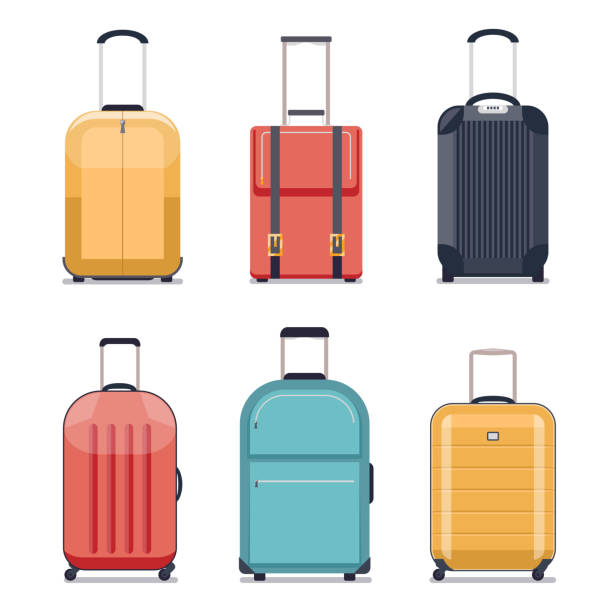 travel luggage or suitcase icons vector illustration - luggage stock illustrations