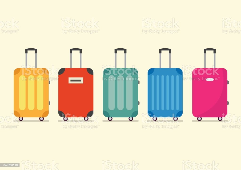 Travel luggage set for vacation and journey vector art illustration