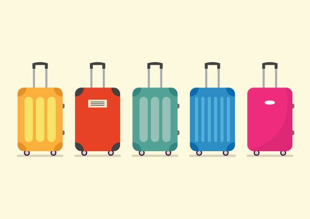 travel luggage set for vacation and journey - luggage stock illustrations