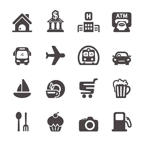 travel map location icon set, vector eps10 travel map location icon set, vector eps10. airport symbols stock illustrations