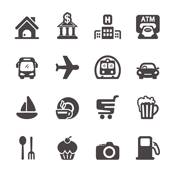 stockillustraties, clipart, cartoons en iconen met travel map location icon set, vector eps10 - 2015