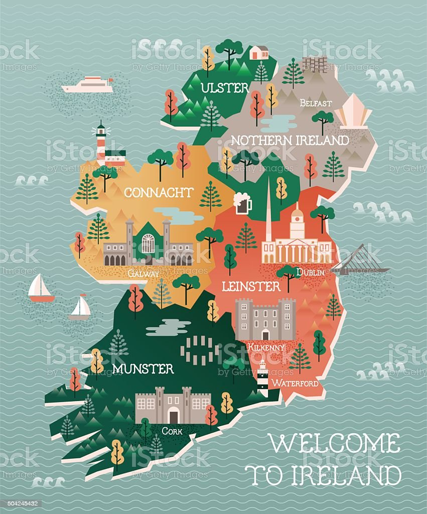 Travel map of Ireland with landmarks and cities vector art illustration