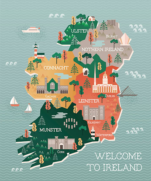 travel map of ireland with landmarks and cities - uk travel stock illustrations, clip art, cartoons, & icons