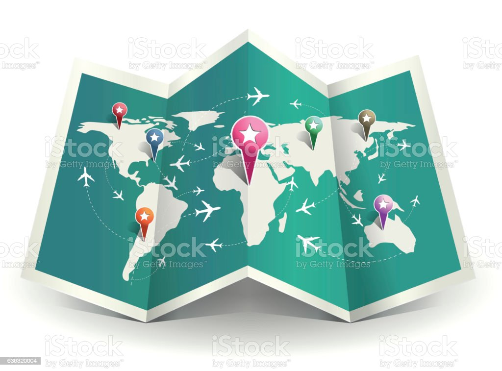 Travel map vector art illustration