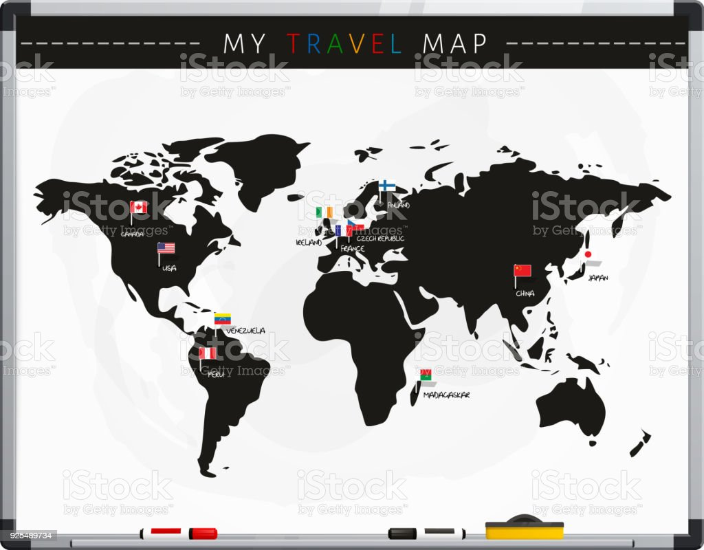 Travel map with flags map pointers and marker pens on whiteboard travel map with flags map pointers and marker pens on whiteboard vector royalty gumiabroncs Image collections