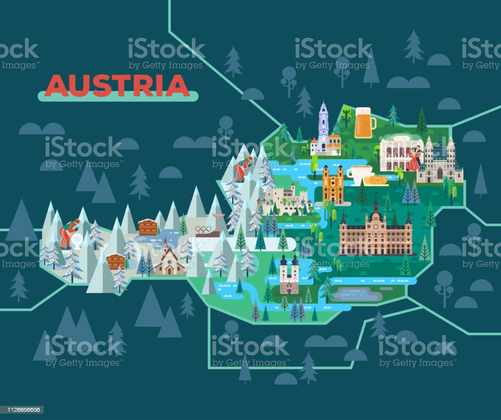 Travel map with landmarks of Austria.