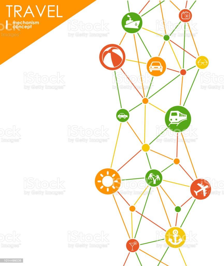 Mecanismo de viaje. Fondo abstracto con engranajes conectados y los iconos planos integrados. Ilustración interactiva de vector. - ilustración de arte vectorial