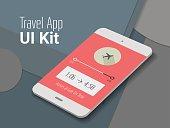 Travel mobile app UI smartphone mockup