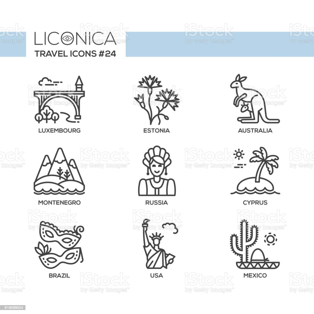 Travel - modern vector flat line design icons set. vector art illustration