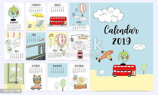 Travel monthly calendar 2019 with van,sun,suitcase,sea,beach,watermelon,ice cream,rainbow glasses,cactus and flamingo