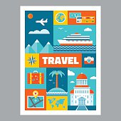 Travel - mosaic poster with icons in flat design style. Vector icons set. Set of tourism icons. Travel illustrations. Design elements.