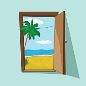 Vector illustration of an open door with beautiful beach palm and sea there. Dream weekend and summer holiday. Travel and freelance. Tourist motivating poster.