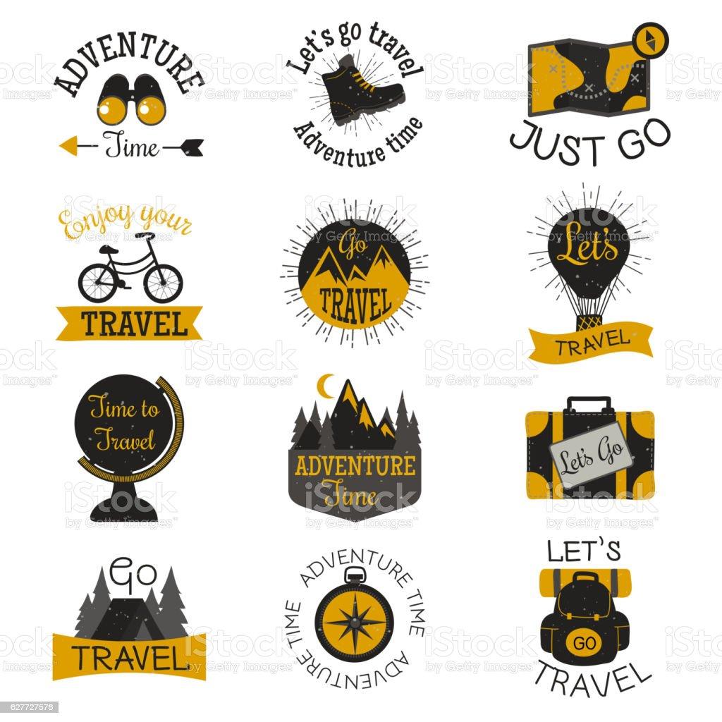 Travel motivation badges vector set. ベクターアートイラスト