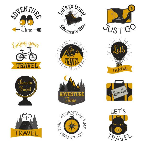 Travel motivation badges vector set. – Vektorgrafik