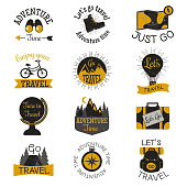 Travel motivation badges vector set.