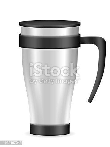 Travel mug on a white background. Vector illustration.
