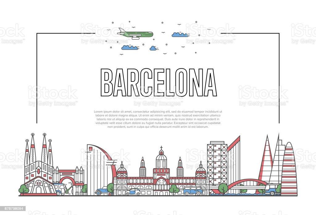 Cartel n viajes en estilo lineal - ilustración de arte vectorial