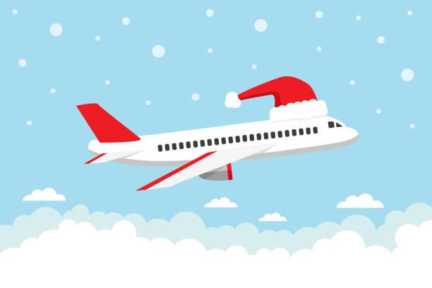 Viajar en Navidad - ilustración de arte vectorial