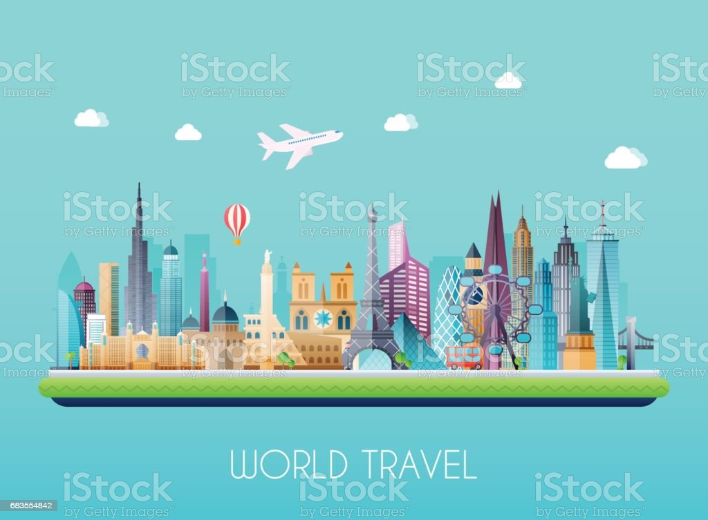 Travel on the world concept. Tourism. Flat vector illustration. vector art illustration