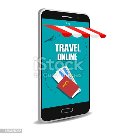 Travel online Mobile. Vector concept on white background
