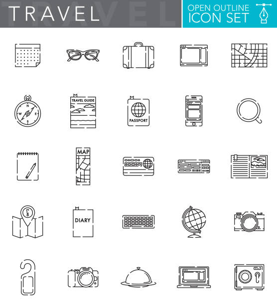 travel open outline icon set in flat design style - save the date calendar stock illustrations, clip art, cartoons, & icons