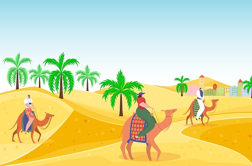 Travel outdoor hot desert people character riding camel, arabian travel hot vacation, oriental landscape flat vector illustration. Concept foreign trip, sand wasteland bedouin astride dromedary.