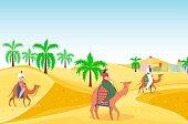 istock Travel outdoor hot desert people character riding camel, arabian travel hot vacation, oriental landscape flat vector illustration. 1314038169