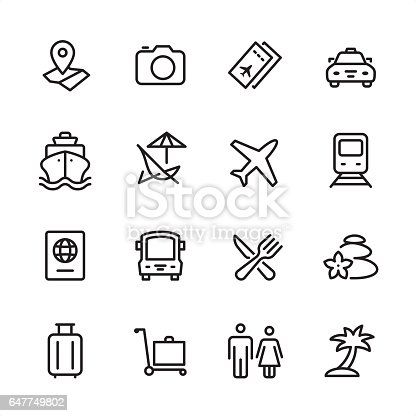 16 line black and white icons / Set #17