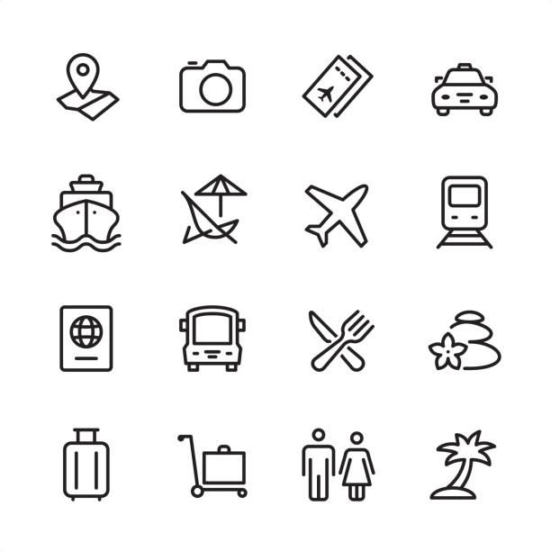 Travel - outline icon set vector art illustration