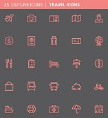 Travel Outline Icons (Set of 25)