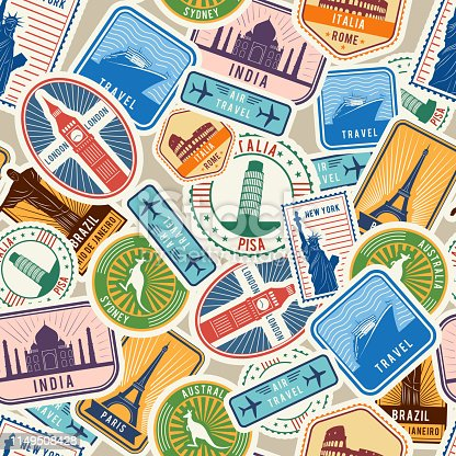 Travel pattern. Immigration stamps stickers with historical cultural objects travelling visa immigration vector textile seamless design. Illustration of sticker travel, national landmark label