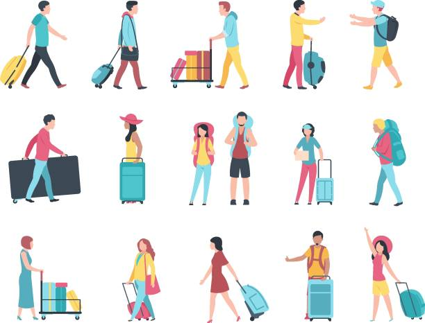 Travel people. Airport tourist baggage crowd passengers check passport control terminal queue. People with luggage vector Travel people. Airport tourist baggage crowd passengers check passport control terminal queue. People with luggage vector set airport clipart stock illustrations