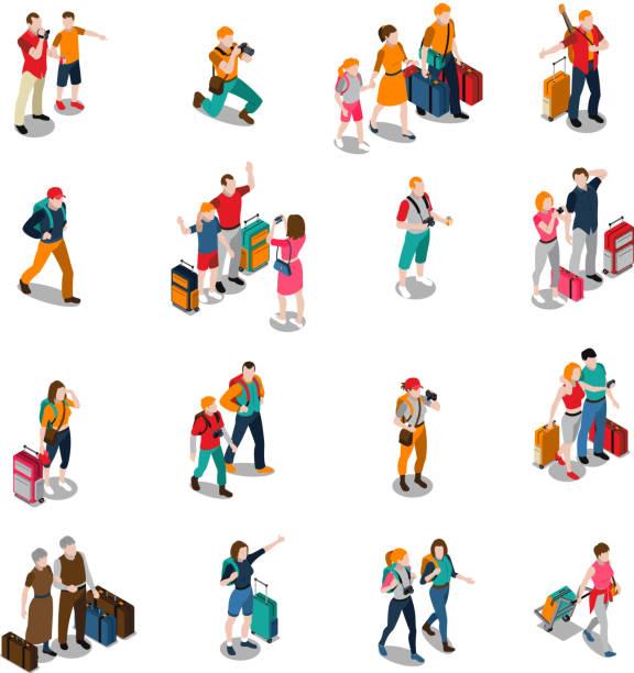 Reisepersonen isometrische Symbole – Vektorgrafik