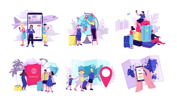 Travel people set of vector illustrations. Traveling people finding sights in mobile app, travelers attractions, watching map, waiting in airport with luggage. vector art illustration