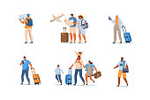 People Characters with Bags, Suitcases and Backpack at the Airport hurry up for Departure. Travelling Girls, Boys, Family and Couple. Vacation and Tourism Concept. Flat Cartoon Vector Illustration.