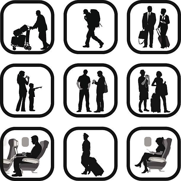 travel people - airplane seat stock illustrations