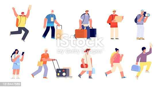 istock Travel people with luggage. Traveller vacation, family tourist in airport. Isolated hurry to departure young trip characters utter vector set 1318447589