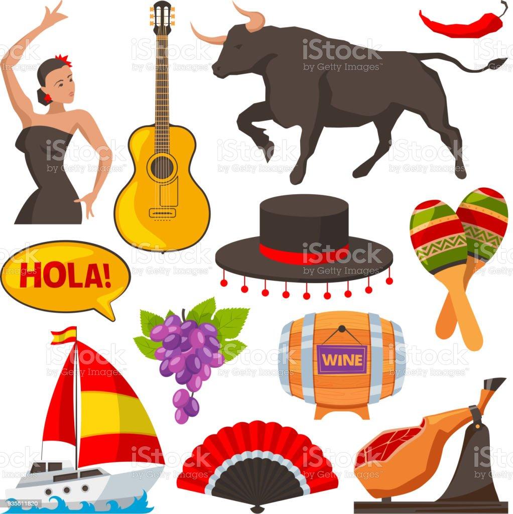 Viajes fotos de objetos culturales de España. Aislar a las ilustraciones de estilo de dibujos animados - ilustración de arte vectorial