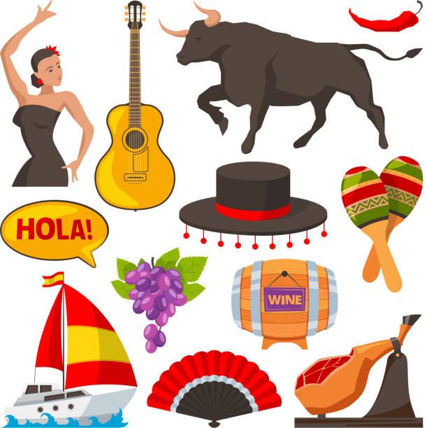 旅行のスペイン文化財の写真。漫画形式のイラストを分離します。 - スペイン料理点のイラスト素材/クリップアート素材/マンガ素材/アイコン素材