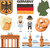 Travel pictures. Set of traditional and cultural objects of germany. Vector traditional culture, german beer and food, europe tourism illustration