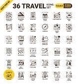 Travel pixel perfect line icons modern style for travel website