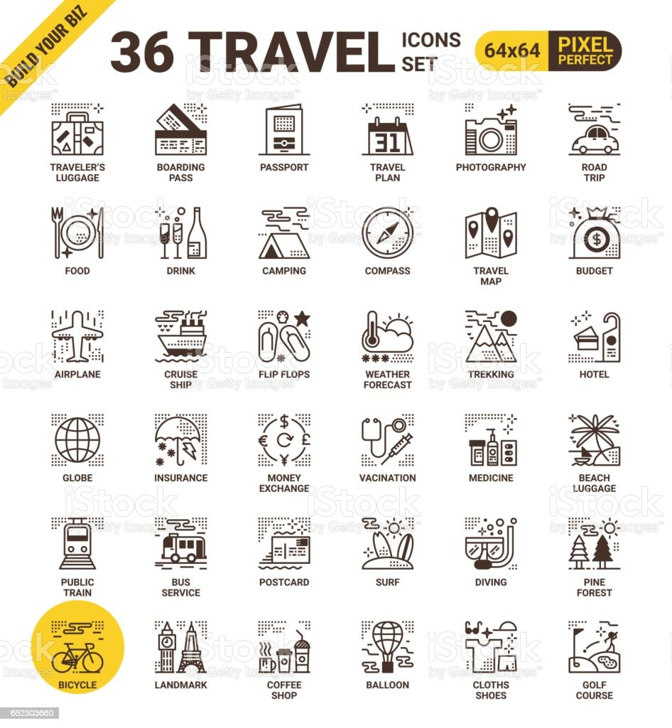 Travel pixel perfect icons vector art illustration