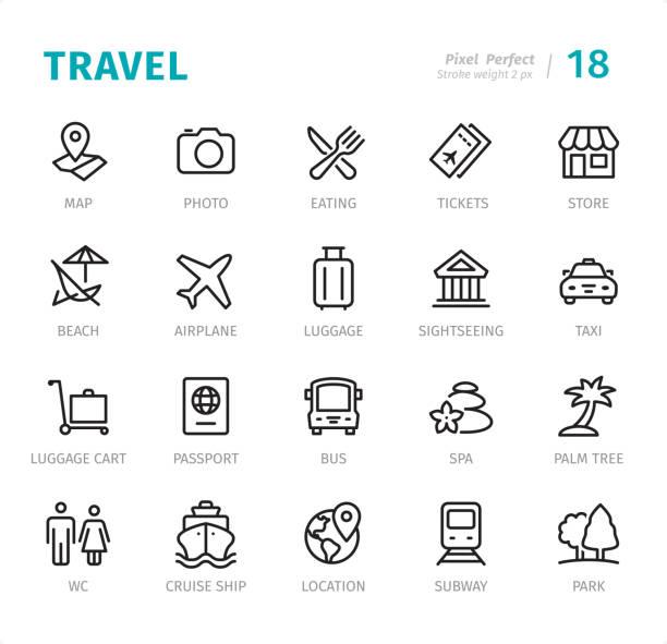 ilustraciones, imágenes clip art, dibujos animados e iconos de stock de viajes - los iconos de línea perfecta de píxeles con subtítulos - viaje de negocios
