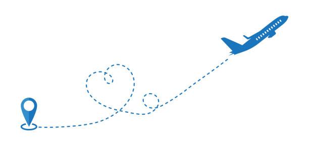 uçak yolu için seyahat düzlem yol simgesi veya kesik çizgi vektörü. - start stock illustrations