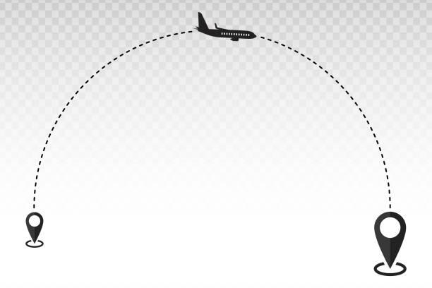 seyahat uçağı başlangıç noktası ve varış noktaları - start stock illustrations